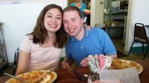 Allison and I on a quick summer trip last year to see a couple friends of ours be ordained as pastors.