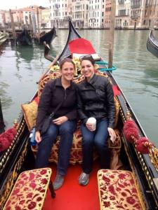 Enjoying a ride with my friend Catherine in a gondolla while visiting and experiencing Venice, Italy