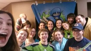 An example of being sports fans, gathered with our friends to root on the Seahawks in the Super Bowl (Feb. 2014) against the Broncos.