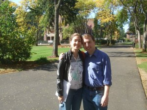 Timothy and his wife Allison on the campus of their undergraduate campus where they met, Pacific Lutheran University.